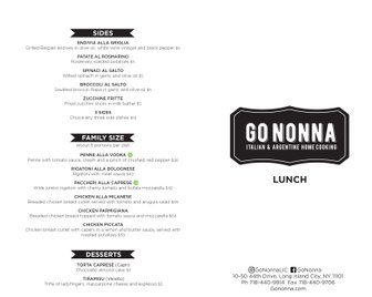 Menu design for the Argentinian restaurant Go Nonna in New York