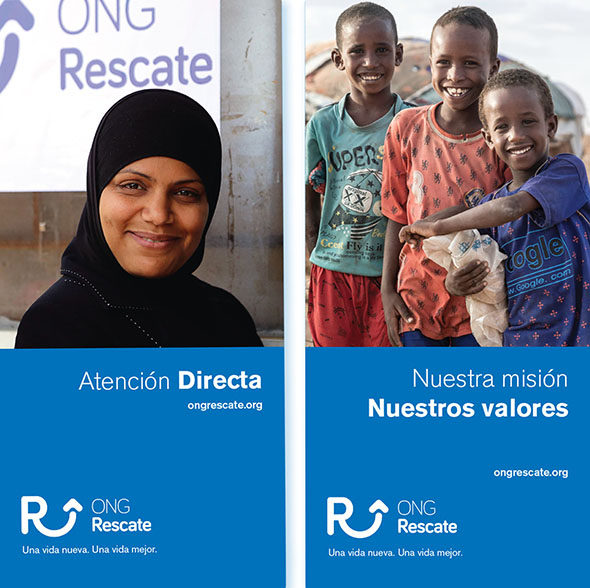 Folder layout for ONG Rescate, an NGO that specialises in helping gender-persecuted refugees